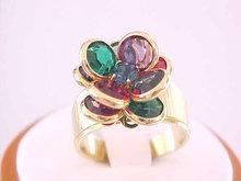Multiple Color Crystal Ring Bezels Flower