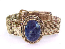 Mesh Buckle Bracelet Lapis Art Glass Vintage