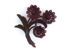 1930s Large Resin Flower Pin Brooch Deep Brwn
