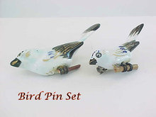 Unusual Porcelain Bird Pins Set 2 Vintage