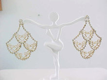 Fabulous Rhinestone Filigree Long Ers Vintage
