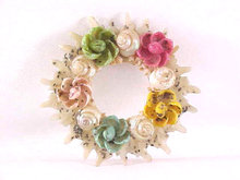 Multiple Color Shell Pin Flowers Vintage