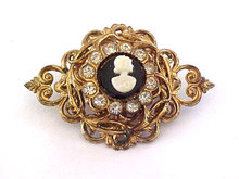 CORO Old Cameo Rhinestone Filigree Ornate Pin