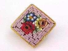 Vintage Mosaic Pin Square Mauve Diamond Shape
