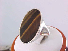 Tiger Eye Ring Sterling Buff Top Sleek