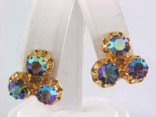 Austria Blues Rhinestones Earrings Prong Set Vintage