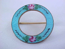 BLUE Guilloche Pin Roses Vintage So Pretty!