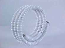 Vintage Coil Bracelet Neck White Faceted Beads Resin