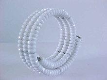 Vintage Coil Bracelet Neck White Faceted Beads Resin