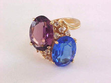Blue Purple Costume Ring CZs Gold Tone Oval Faceted