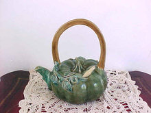 Majolica Tea Pot Greens Leaves Flower Blossom Perfect Vintage