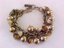 Vintage Bells Bracelet Beads Gold Tone Musical