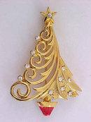 Christmas Tree Pin Signed Swirls Rhinestones