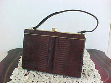 Vintage Genuine Lizard Purse Deep Brown Hand Bag