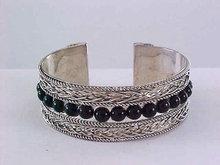 Braided Cuff Bracelet Silver Tone Wide Vintage Black