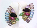 Multiple Color Earrings Different Shaped Stones Vintage