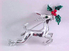 Christmas Reindeer Pin Holly Silver Tone