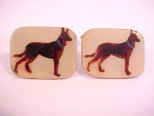 German Shepard Dog Cuff Links Enamel Paint FRANCE Vintage