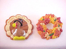 Happy Turkey Day AND Fall Acorn Wreath Pins Vintage