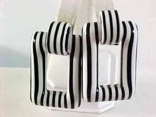Black White RETRO Door Knocker Earrings Large Lucite Vintage