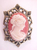 Cameo Pin Vintage Art Deco Style Frame