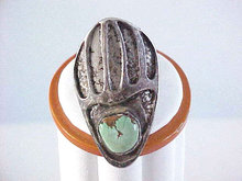 Bear Claw Ring Unusual Green Turquoise Sterling Cast Vintage