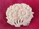 Vintage Pin Ivory Bone Flowers Carved Beautiful!