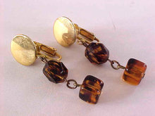Tortoise Lucite Earrings Drops Clips Vintage