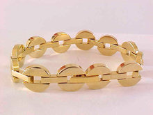 MOD Circle Bar Bracelet Chunky Gold Tone Hidden Clasp Vintage
