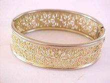 Floral Filigree Bracelet Hinged Art Deco Bangle Locking Vintage