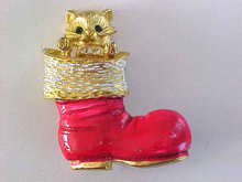 MYLU Christmas Cat Kitten Boot Enamel Rhinestones Vintage