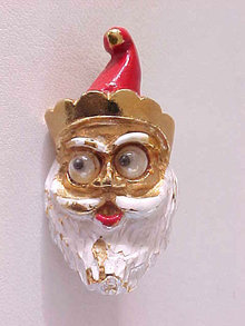 Googly Eye Santa Pin Vintage Enamel Christmas