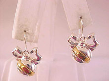 Christmas Ornament Earrings Pierced Wires Two Tone Danecraft