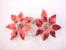 Double Poinsettia Pin Signed BJ Enamel Vintage Christmas