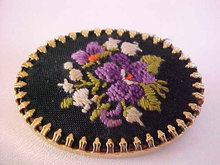 Petit Point Pin Black Background Oval Bezel Vintage