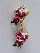 Santa Claus Earrings Christmas Clip Ons Enamel