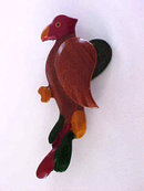 Parrot Pin Vintage Carved Wood 3D Hand Painted Beautiful 3 Inches