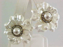 Satin Floral Earrings White Resin Pierced RSs