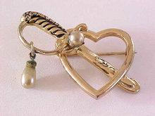 Heart Sword Pin  Vintage Dangle