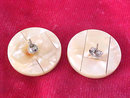 MOP Disc Button Earrings Inlaid Look Vintage Pcd Posts