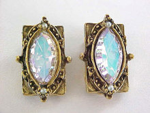 Aurora Borealis Scalloped Navette Earrings Antiqued TARA