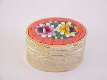 Oval Mosaic Box Italy Vintage Floral Beautiful!
