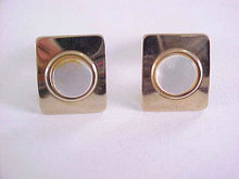 Mother Of Pearl Cuff Links Gold Tone Rectangles Circles Vintage