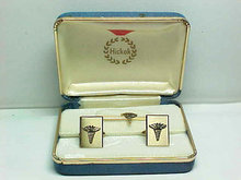 Caduceus Cuff Links Tie Clip Vintage Set New In Original Box