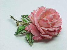 PELL Rose Pin Brooch Resin Gold Tone Vintage