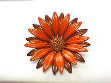 Huge 1960s Flower Power Pin Brooch Orange Brown Vintage 3 Inches