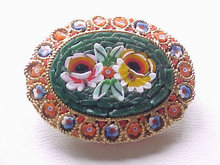 Mosaic Oval Pin Italy Vintage Green Ground Flor
