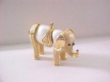 Unique Elephant Pendant Double Imitation Pearl Belly Vintage