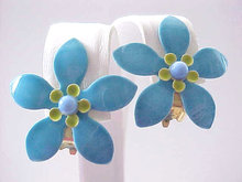 Enamel Flower Earrings Blue Vintage 1970s