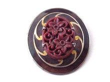 Enamel Celluloid Clip Fur Pin Guilloche Vintage